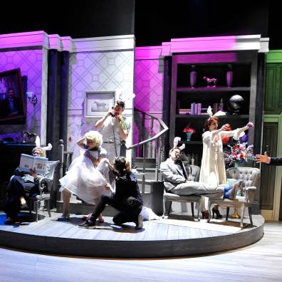 Harvey, 2016, Chemainus Theatre Festival. Set by Brian Ball, Lighting by Nicole Lamb, Costumes by Nicole Leiffertz. Featured (L-R): Mark DuMez, Kathryn Kerbes, Ella Simon, Jay Clift, Tessa Gunn, Mack Gordon, Erin Ormond, Bernard Cuffling.