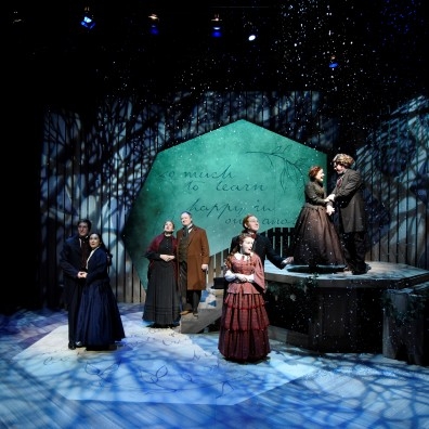 Little Women, 2018, Chemainus Theatre Festival. Set by Carolyn Rapanos, Costumes by Jessica Oostergo, Lighting by John Webber, Photography by Cim MacDonald. Featured (L-R): Julien Galipeau (Laurie), Kaitlyn Yott (Amy), Seana-Lee Wood (Marmee), Gordon Roberts (Mr. March), Samantha Currie (Meg), Ryan Reid (Brooke), Karyn Mott (Jo), Chris King (Bhaer).