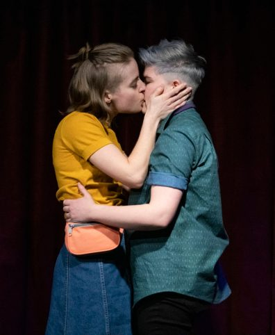 Poly Queer Love Ballad, 2019, Queer Arts SUM Gallery. Anais West and Sara Vickruck. Original Production Design by Jessica Han, Set and Costumes by Alaia Hamer, Lighting by Harika Xu. Photo by Emily Cooper.